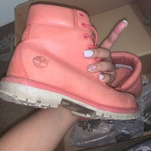 Pink water proof timberland boots